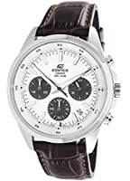 Edifice Men's Quartz Watch with White Dial Analogue Display and Brown Leather Strap EFR-527L-7AVUEF