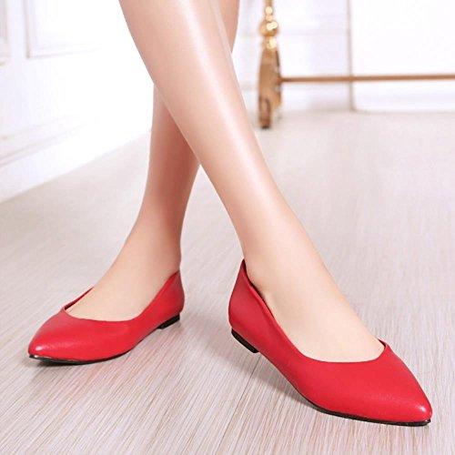 TAOFFEN Damen Elegant Flach Ohne Verschluss Pointed Toe Arbeit Pumps Red