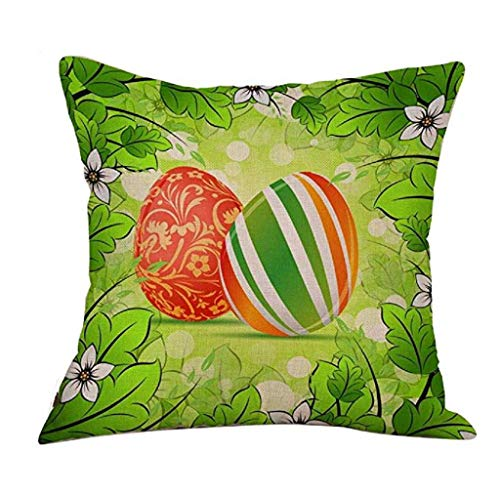 Federa di natale, scpink colorate uova e bellissimi fiori happy easter home decoration festival gettare pillow case 18x18 pollici cuscino (c)