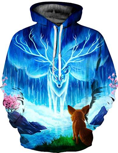 Herren Digitaldruck Kapuzenpullover Tops Fashion Hoodie Pullover Hooded Sweatshirt Hirsch B
