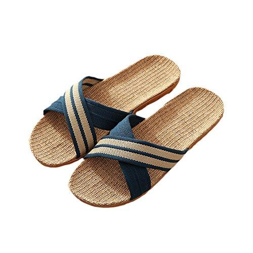Uomo pantofole di lino naturale con fasce incrociate punta aperta pantofole sandali scarpe piatte scarpe (40/41 eu, blu)