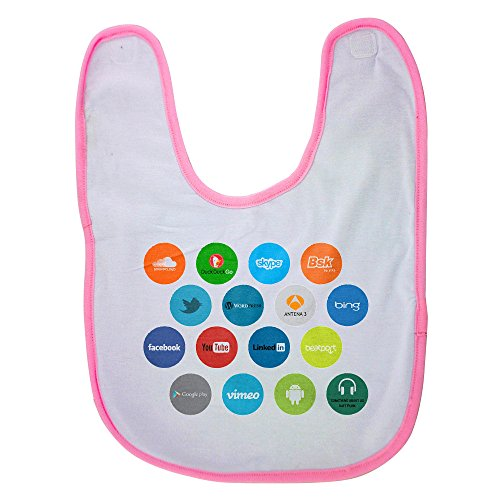 Pink baby bib with In my new test graphic design work we are trying to get a new intuitive an ddifferente UI design for smart devices like smartphones or tablets. In this way we are using an hezagon d