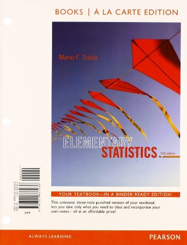 Elementary statistics mystatlab with pearson etext access card package - Books a la Carte by Mario F. Triola (2013-03-17)
