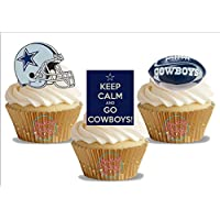12 x American Football Dallas Cowboys Trio Mix - Fun Novelty Birthday PREMIUM STAND UP Edible Wafer Card Cake Toppers Decorations