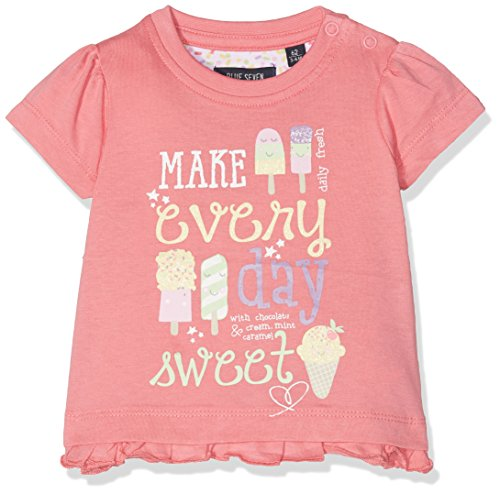 BLUE SEVEN Baby - Mädchen T-Shirt Mini Md 901030 X, Einfarbig, Gr. 74, Rosa (Azalee Orig 415) (Baby-mädchen-shirt-labels)