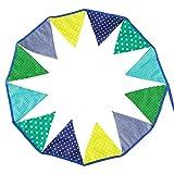 Qhua Wimpelkette Blau (Stoff-Girlande: 3,5 m, 12 Wimpel, Deko für Kinderzimmer & Baby-Partys)