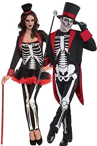 Fancy Me Paar Herren & Damen Mr & Mrs Skelett Tag der Toten Zuckerschädel Halloween Horror Kostüm Verkleidung ()