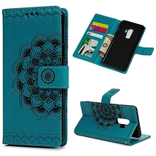 Mlorras Hülle für Samsung Galaxy S9 Plus, Geprägte halbe Blume Schnalle vorne Leder Handyhülle Klappbares Brieftasche Schutzhülle Wallet Case Cover mit Integrierten Kartensteckplätzen Blau -
