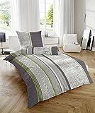 Feinbiber Bettwäsche 100% Baumwolle mit Reißverschluss Farbe grau grün Größe 135x200 cm Kissen 80x80 cm