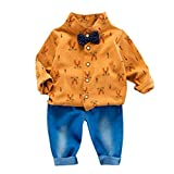 Cloom Baby Kleidung 2pc Rabbit Print Anzug Fliege Bluse + Hosen Kleiner Anzug Baby Bekleidungssets Strampler Jungen Anzug Gentleman Bodysuit Festliche Taufe Hochzeit Anzug Jungen (Gelb,6)