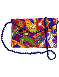 Embroidered Cowries Envelope Clutch/Sling Bag With Multi-color Pom-Pom & Mirror For Girls/Women