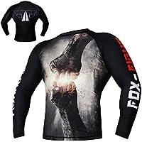 Fist Punch Rashguard Long Sleeves Camiseta de compresión MMA BJJ Muay Thai Entrenamiento Fitness Fox-Fight–, color negro, tamaño large