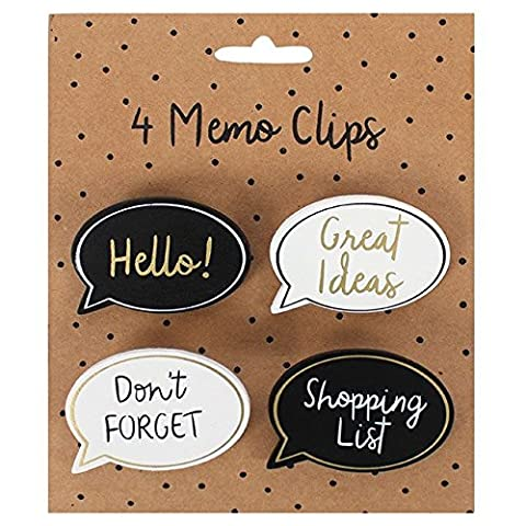 4 Memo Clips, Speech Bubble - Hello, Great Ideas, Don't