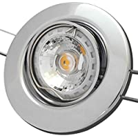 Innenbeleuchtung 5 Stück MCOB LED Einbaustrahler Elena 230 Volt 7 Watt Dimmbar Schwenkbar Chrom/Warmweiß
