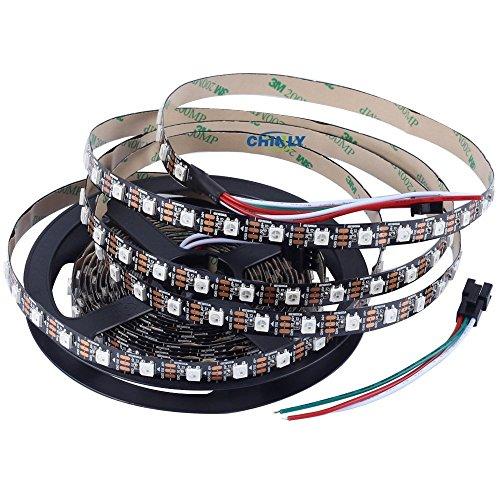 CHINLY 5m 300leds WS2812B Individuell adressierbar LED Streifen Licht SMD5050 RGB 300 Pixels Traumfarbe Nicht wasserdicht Schwarz PCB 5V DC (Led-licht Sie Bar Stellen)