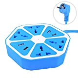 #5: Hexagon Socket Extension board with 4 USB 2.0Amp charging point-BLUE