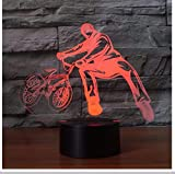 Creative 3D Trickster Tischlampe Nacht Dekor Fahrrad Begrenzung Bewegung Nachtlicht Led 7 Farben Ändern Baby Schlafen Beleuchtung Geschenke