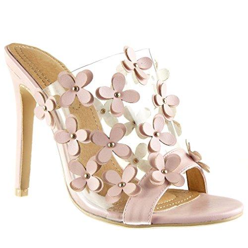 Angkorly Damen Schuhe Mule Pumpe - Stiletto - Slip-on - Schick - Blumen - Nieten - Besetzt - Transparent Stiletto High Heel 12 cm - Rosa 2461-751 T 41
