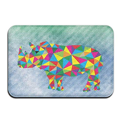 Indoor Fußabtreter Super Absorbs Mud Absorbent Rubber Rugs Front Fußabtreters Office Fußabtreter Bathroom Mats Polygonal Geometric Rhinoceros Green and Blue Stripe Floor Mat Coral Fleece Home Decor