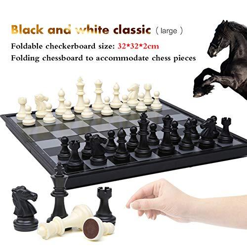 Hzl Juego de ajedrez plegable magnético para, Juego de mesa de ajedrez para niños o adultos,Blackandwhite,large