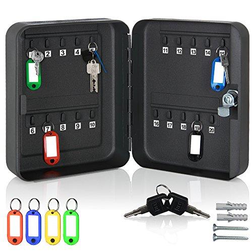 monzana® Schlüsselkasten 20 Haken inkl. 20 Schlüsselanhänger abschließbarStahl Schlüsselschrank Box Tresor Safe