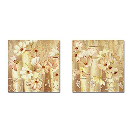 """Moderna parete, colore: rosso e rosa su tela con fiori In vaso, Oil Paintings 2 Panel n. con ogni pezzi taglia 30,48 x 30,48 (12"""") x 12 cm, Cotone, Multi6, 12 x 12 inch no Framed"""