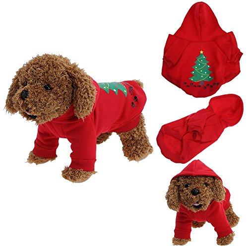 Pb peggybuy Pet Kleid Hund Weihnachten Kleidung Teddy Jacke für Herbst und Winter Shirt Festival Pullover Rot, S (Festival-aktivitäten Halloween-herbst)