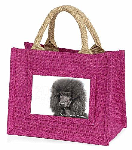 Schwarzer Pudel 'Love You Mum' Kleine Mädchen rosa Einkaufstasche (Pudel Schwarz Mini)