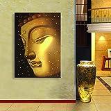 LED Malerei Licht Buddha-Figur LED Wand Kunst Kronleuchter Muster, Blitz Leuchtendes Bild Drucken Leinwand Leuchtend Haus Dekoration Gestreckt Und Gerahmt Bereit Zum Aufhängen (Innerer Rahmen) Golden,35X50cm