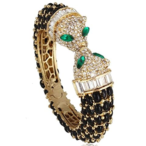 EVER FAITH® Austrian Crystal 2 Leopard Head Oval Drop Bangle - Black N03276-3