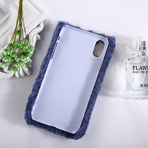 Mxnet IPhone X Case, Plüsch Tuch Cover Diamante PC schützende zurück Fall ( Farbe : Black ) Dark blue