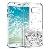KOUYI Galaxy S7 Edge Hülle Glitzer, Luxus Fließen Flüssig Glitzer 3D Bling Dynamisch Silikon Weich Flexible TPU Kreativ Shiny Glitter Cover Beschützer für Samsung Galaxy S7 Edge (Silber)