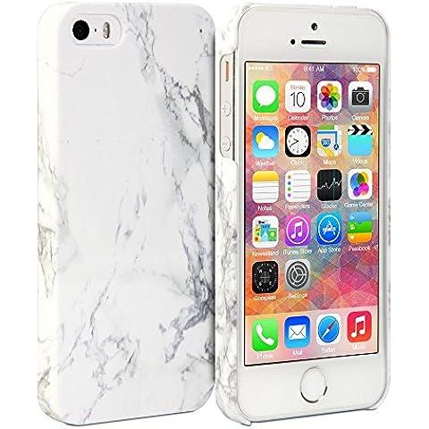 iPhone 5S Caso, GMYLE Cover Case Print Crystal para iPhone 5 / iPhone 5S - Blanco Diseño de Mármol Delgado Chasquido En con fuerza caso trasero