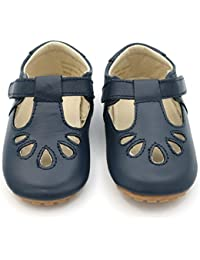Dotty Fish Leather T-bar First Walking Shoes. Baby and Toddler Girls Shoes. Non-Slip. Navy and Red. (Child UK 3-7)