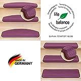 Kettelservice-Metzker® Stufenmatten Vorwerk Uni Einzeln und Sparset's Brombeer 15 Stück Rechteckig