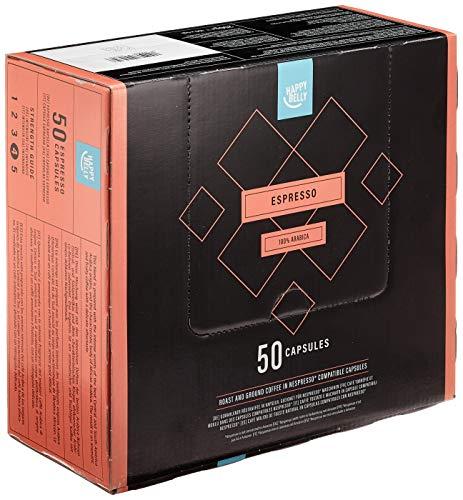 Amazon-Marke: Happy Belly Espresso Gemahlener UTZ Röstkaffee in Kapseln (kompostierbar), geeignet für Nespresso-Maschinen, 50 Kapseln
