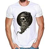 Tops Sannysis 2018 Herren T-Shirt Totenkopf Kapitän Skull Bard Hipster Original Spirit Seemann Slim Fit Baumwolle Top Bluse Sweatshirts (L, Weiß)