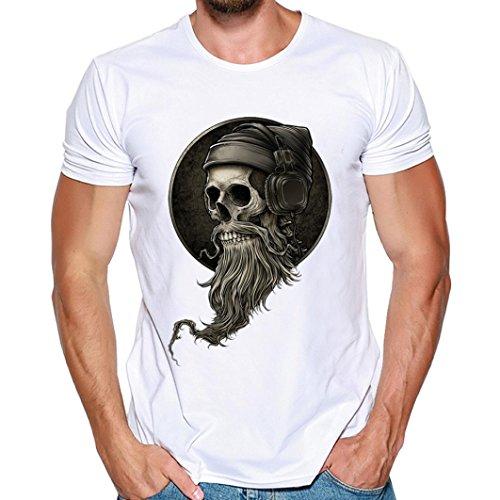 Tops Sannysis 2018 Herren T-Shirt Totenkopf Kapitän Skull Bard Hipster Original Spirit Seemann Slim Fit Baumwolle Top Bluse Sweatshirts (3XL, Weiß) (T-shirts Von Paul Frank)