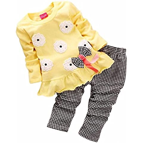 Conjuntos de bebé,✽Internet✽ Niños Niñas de manga larga de la flor de la camisa de arco Plaid Pant Set