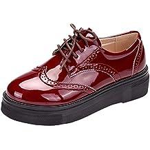 431981ac9739 DADAWEN Femme Chaussures de Ville à Lacets Brogues Derbies Mocassins en Cuir  Casual Mode Antidérapantes