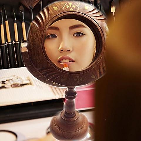 espejo de madera, con incrustaciones de espejo de trabajo de apoyo, espejo decorativo de madera, espejo antiguo de madera, Acción de Gracias y de la Navidad
