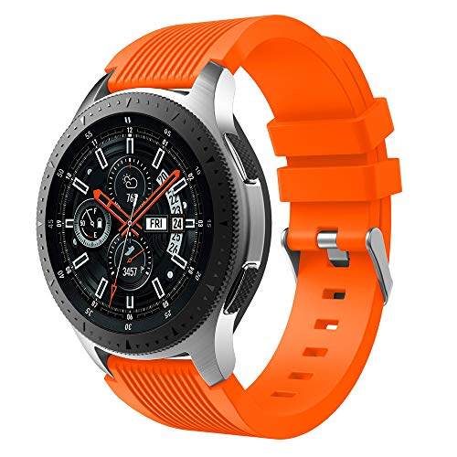 MuSheng For Samsung Galaxy Watch 46MM Armband Band,Fashion Fitness Weicher Silikon Ersatz Band Bügel Armband für Samsung Galaxy Watch 46MM (Orange)