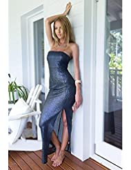 Vestido mujer vestido de pecho discoteca . blue . xl