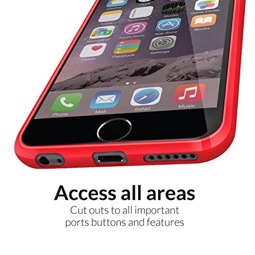 Orzly® FUSION Bumper Case für Apple iPhone 6 & 6S (4.7-Zoll Modell 2014 & 2015 Version) - Schutz Hard Cover mit stoßabsorbierenden Gummi SCHWARZ Rim und Voll Transparente Rückseite ROT Fusion für iPhone 6 PLUS & 6S PLUS