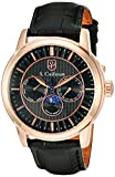 S.Coifman Men's Quartz Watch with Black Dial Analogue Display and Black Leather Strap SC0215
