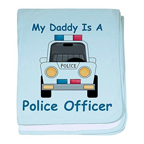 CafePress–Daddy ist ein Police Officer Baby Decke–Baby Decke, Super Weich Für Neugeborene Wickeldecke, baumwolle, himmelblau, Standard