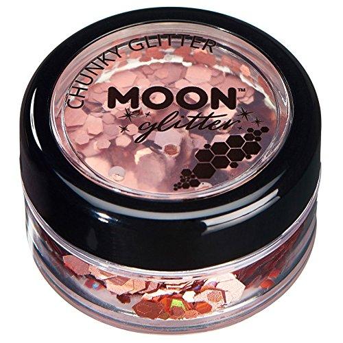 Paillettes holographiques rondes par Moon Glitter (Paillette Lune) - 100% de paillettes cosmétique pour le visage, le corps, les ongles, les cheveux et les lèvres - 3g - Or Rose