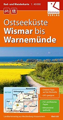 Rad- und Wanderkarte Ostseeküste Wismar bis Warnemünde: Maßstab 1:40.000, GPS geeignet, Erlebnis-Tipps auf der Rückseite