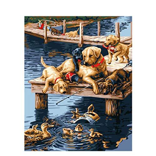 Pintar por Numeros Perro en el caballete Pintura al óleo bricolaje para Regalos para niños adultos...