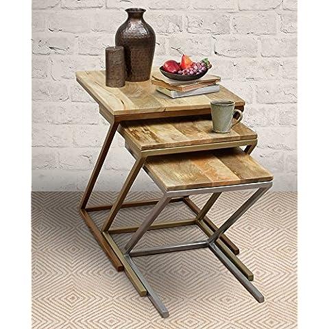 Mesas empotrables modernas de madera (55.5 - 50.5 - 45.5 cm) Mesas empotradas en forma de Z